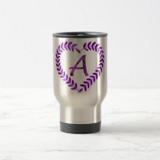 Letter A Camo with Purple  - Camo Alphabet Travel Mug