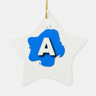 Letter A Ceramic Star Ornament