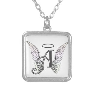 Letter A Initial Monogram with Angel Wings & Halo Jewelry