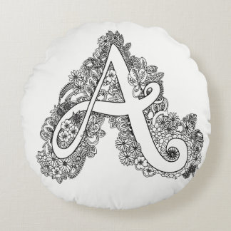 Letter A mono doodle tangled pattern round pillow