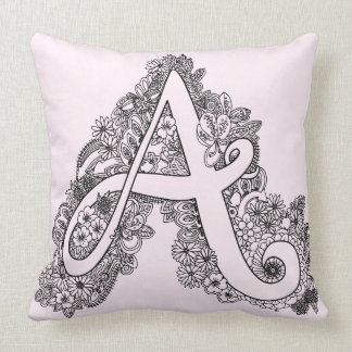 Letter A mono doodle tangled patterned pillow