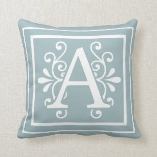 Letter A Monogram Robins Egg Throw Pillow