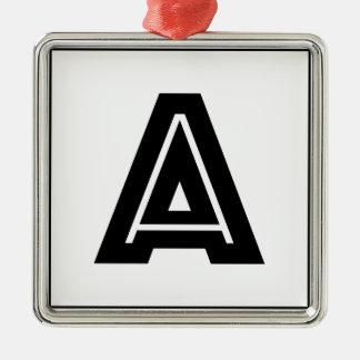 Letter A Monogram | Simple, Modern, Minimal Silver-Colored Square Ornament