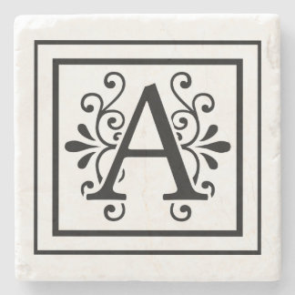 Letter A Monogram Stone Coasters