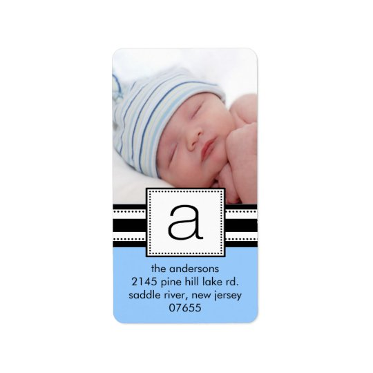 Letter A Monogram Vetical PHOTO Address Labels.