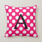 Letter A on Pink White Polka Dots Throw Pillow