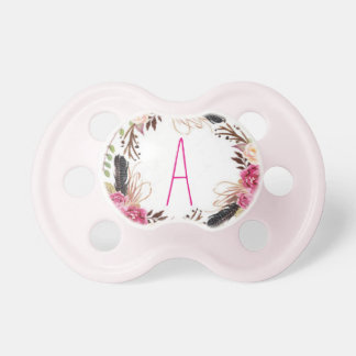 "Letter ""A"" Personalized Floral Pacifier"