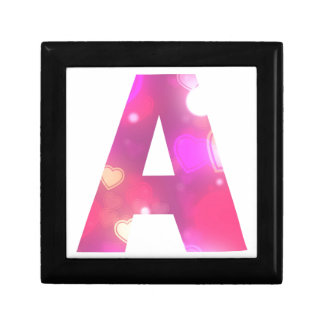 Letter A Pink Hearts Jewelry Boxes