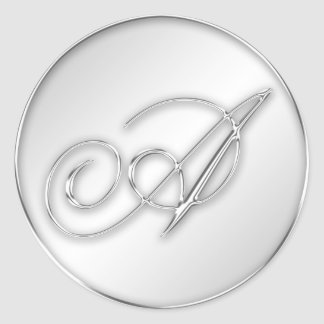 Letter A script initial faux silver monogram favor Round Sticker