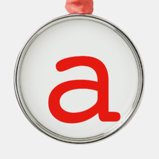 Letter A Silver-Colored Round Ornament