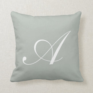 Letter A Silver Gray Monogram Pillow