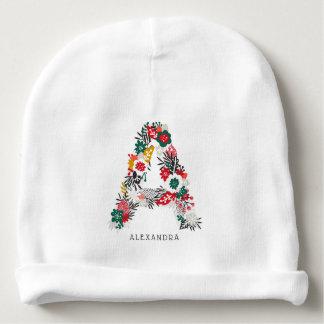 Letter A | Whimsical Floral Letter Monogram I Baby Beanie