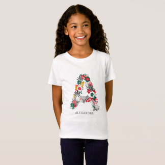 Letter A | Whimsical Floral Letter Monogram I T-Shirt