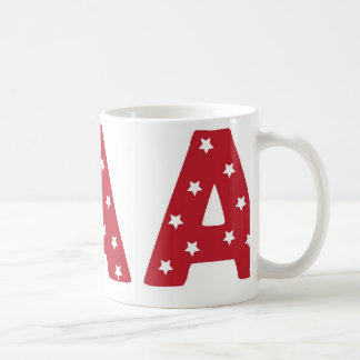 Letter A - White Stars on Dark Red Coffee Mug