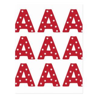 Letter A - White Stars on Dark Red Postcard
