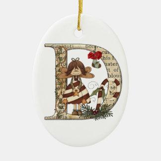 Letter Art - D - Christmas Ornament