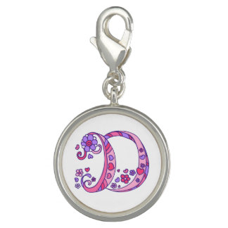 Letter art D whimsical monogram pink purple charm
