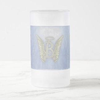 Letter B Angel Monogram 16 Oz Frosted Glass Beer Mug
