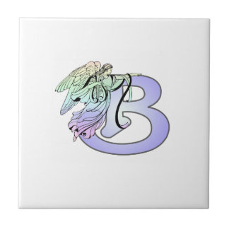 Letter B angel monogram alphabet initial light blu Ceramic Tile