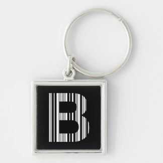 LETTER B BAR CODE First Initial Barcode Pattern Keychain