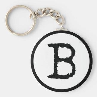 Letter B Basic Round Button Keychain