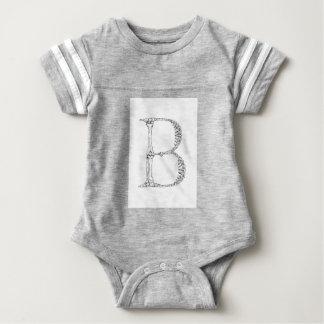 Letter B Bone Initial Baby Bodysuit