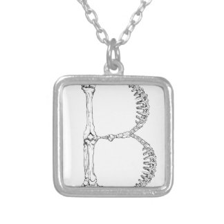 Letter B Bone Initial Silver Plated Necklace