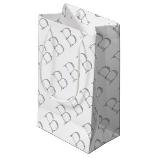 Letter B Bone Initial Small Gift Bag