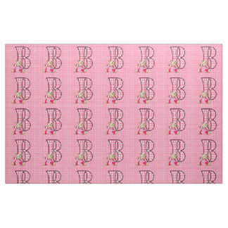 Letter B Girly Bright Pink Plaid Teddy Bear Fabric