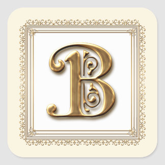 Letter B - Gold & Lace Classic Formal Wedding Seal Square Sticker