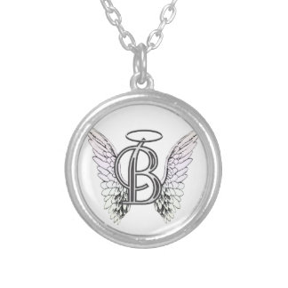 Letter B Initial Monogram with Angel Wings & Halo Custom Jewelry