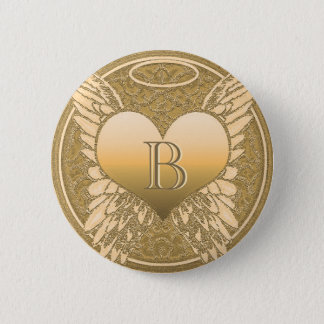 Letter B | Memorial | Angel Heart 2 Inch Round Button