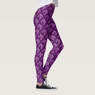 Letter B monogram purple patterned leggings