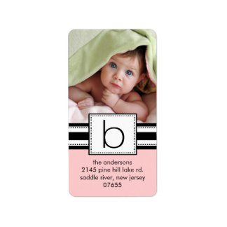 Letter B Monogram Vertical PHOTO Address Labels.