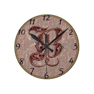 Letter B Round Clock