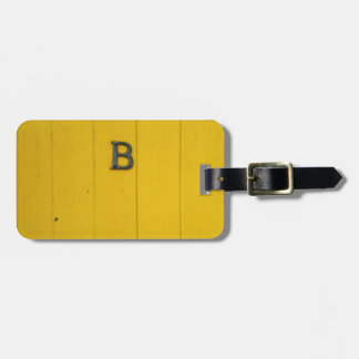 Letter B Rustic Yellow Wood Bag Tag