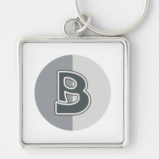 Letter B Silver-Colored Square Keychain