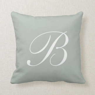 Letter B Silver Gray Monogram Pillow