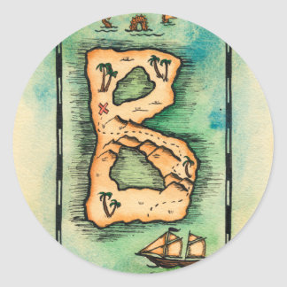 Letter B Treasure Map Classic Round Sticker