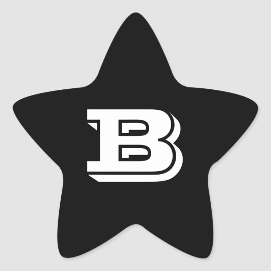 Letter B Vineta Font Black Star Stickers by Janz
