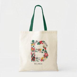 Letter B | Whimsical Floral Letter Monogram I Tote Bag