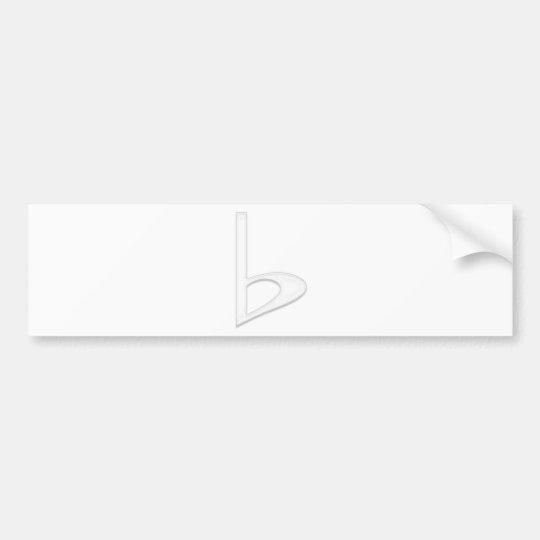 Letter b  White Transparent Background Bumper Sticker