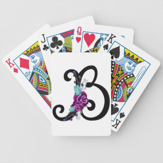 Letter B with vintage floral design and attractive Bicycle Playing Cards