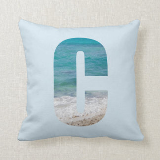 Letter C beach scene Throw Pillow