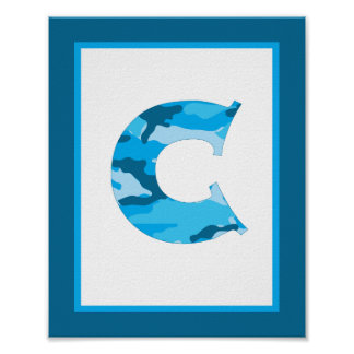 Letter C Camouflage Monogram Initial Wall Art