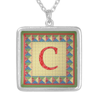 Letter C: 'Fabric Quilt' Style Initial and Pattern Personalized Necklace
