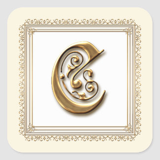 Letter C - Gold & Lace Classic Formal Wedding Seal Square Sticker
