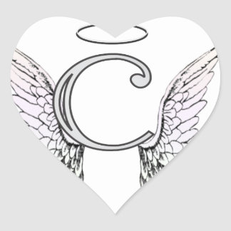 Letter C Initial Monogram with Angel Wings & Halo Heart Sticker