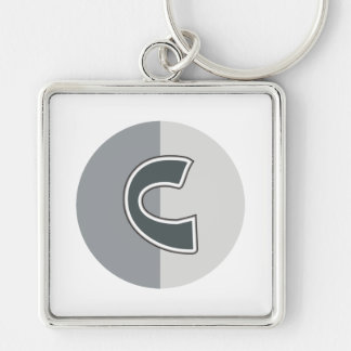 Letter C Silver-Colored Square Keychain