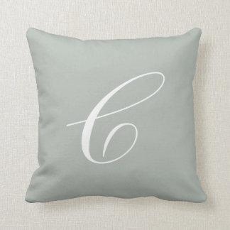 Letter C Silver Gray Monogram Pillow